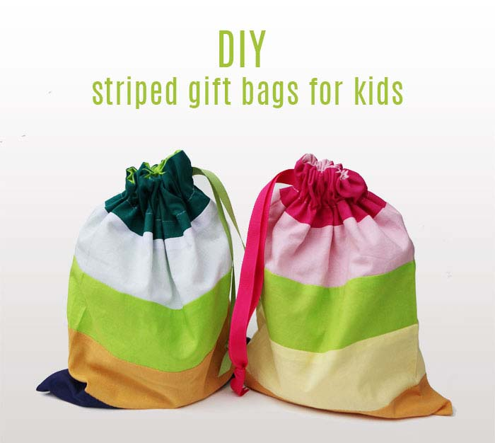 Striped draw string gift DIY