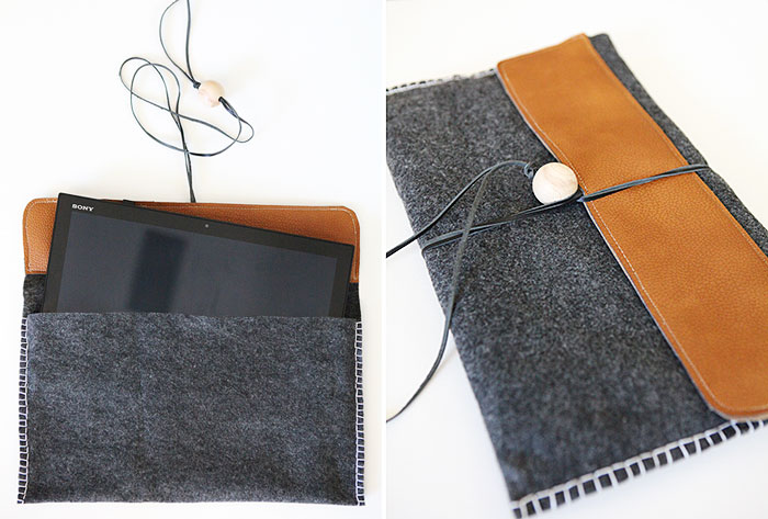 #DIY #laptop felt leather #bag