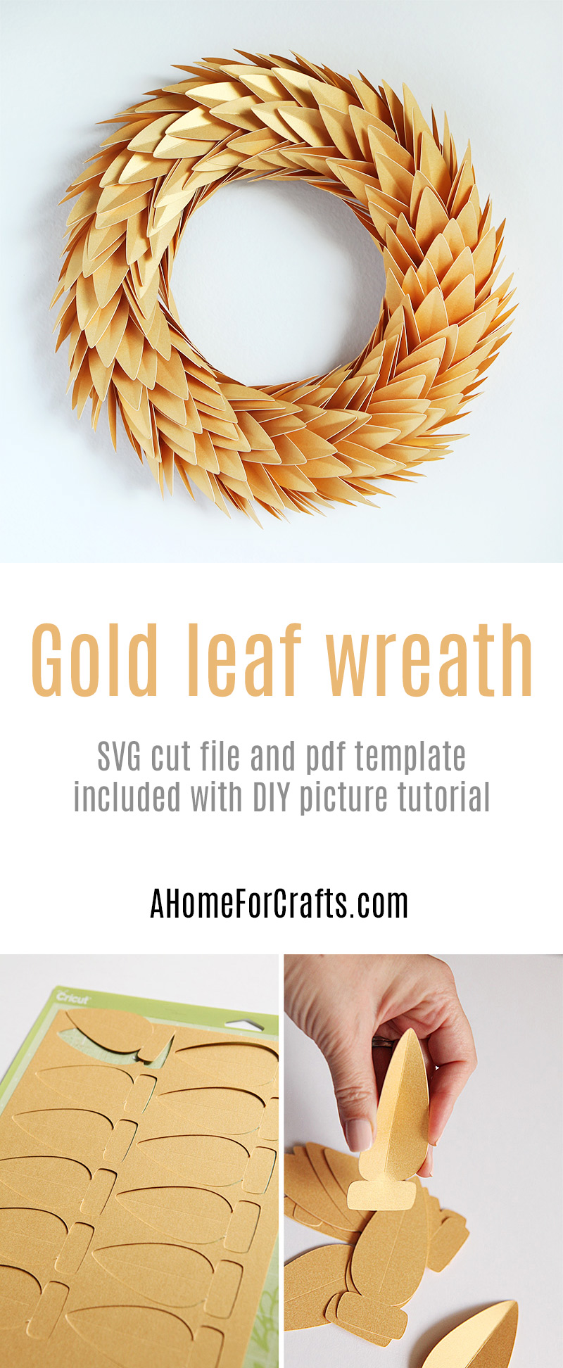 Gold leaf wreath with free download