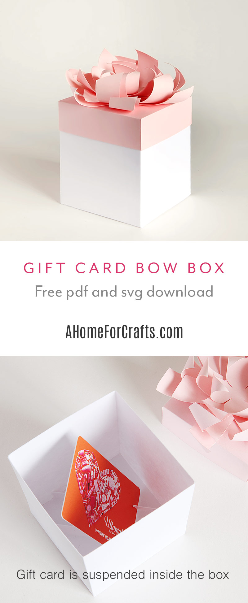 Gift card gift box with bow free svg and pdf download