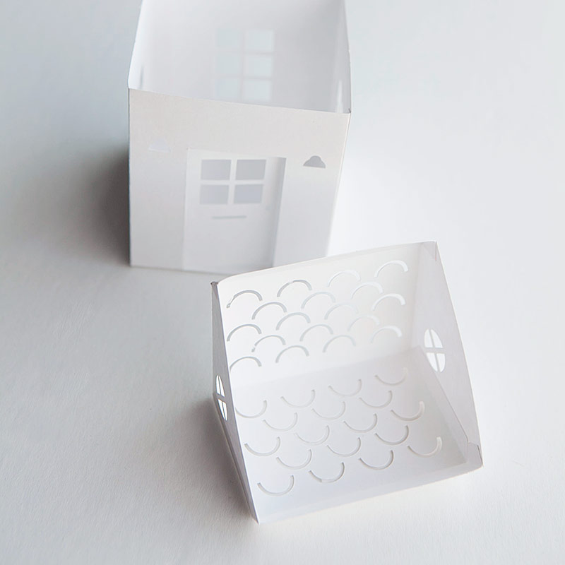 Tea light paper house with free download template and svg
