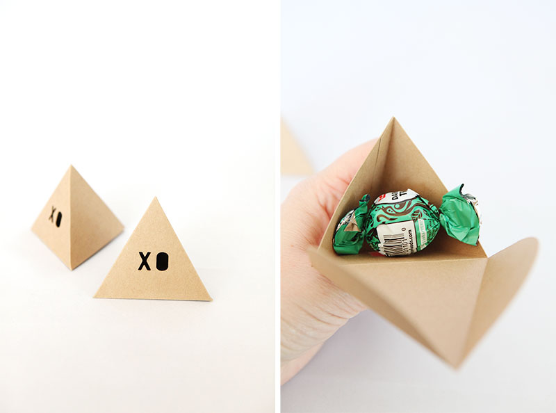 Pyramid box for pillow mint guest tray