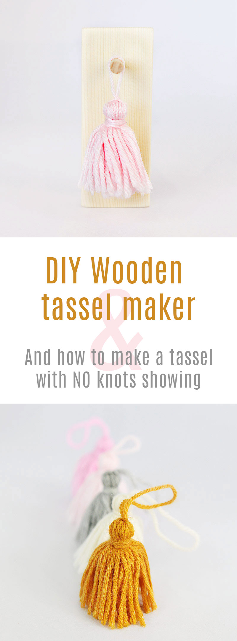 Wooden tassel maker and make a tassel without visible knot pin