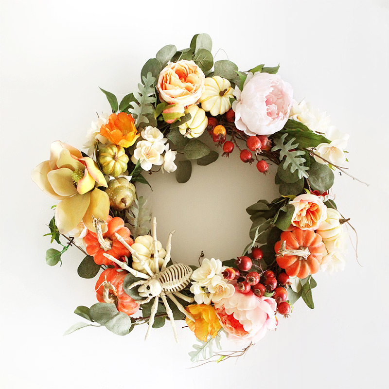 Hallween wreath in pink, peach and yellow - very easy to make.
