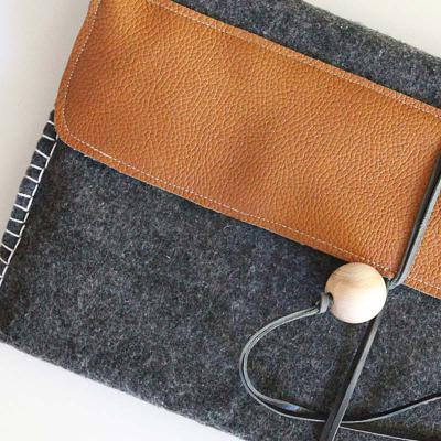 Felt and pleather laptop bag - handmade