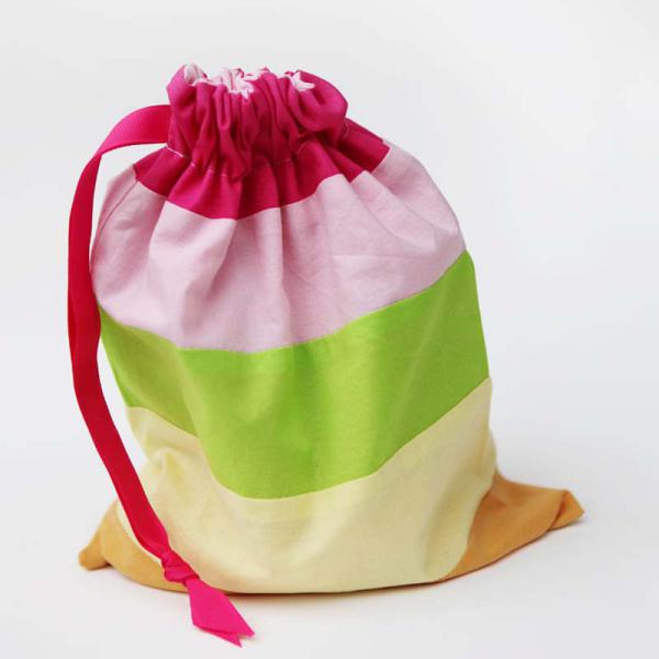 Striped cotton draw-string gift bags for kids