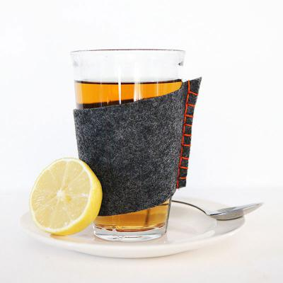 Felt sleeves for hot beverage glasses