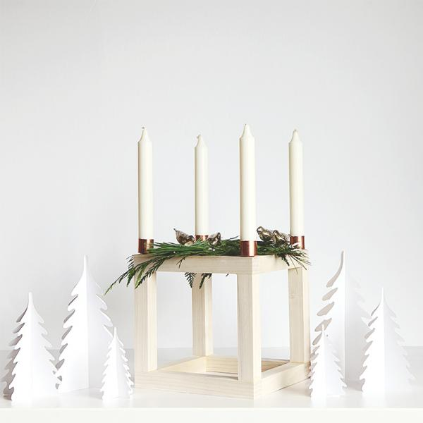 Scandinavian advent cube candle holder